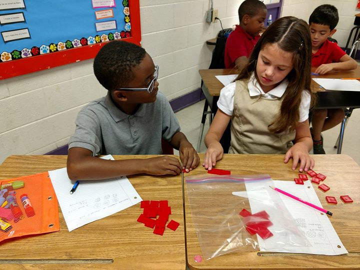 Mathematicians collaborate to solve problems  in Mr. Goodwin's 3rd grade!