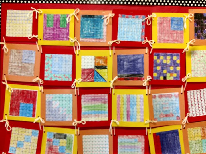 """Mrs. Mesiti's 5th graders are learning to represent and interpret data. Math is alive in this class as they use data from our fundraiser sales and create graphs. The """"quilt"""" is their representation of fractions. As seen in their ELA and science classes, assignments are completed in Google classroom using the Chromebooks."""
