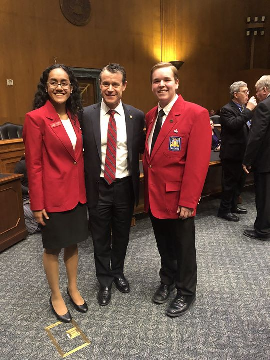 Our National Officers Ula Uluiviti and Preston Prince attended the ACTE/NCCTSO reception on the hill last night to represent the SkillsUSA mission and Framework. They spoke with U.S. Senator Tim Kaine...