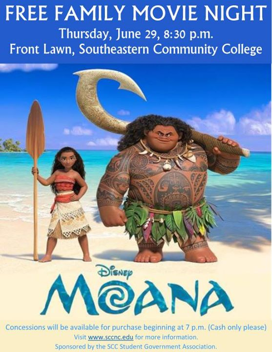 SCC Free Family Movie Night featuring Moana - Thursday, June...