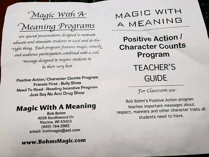 Grades pre-K through 3rd were treated to a magic show. The m...