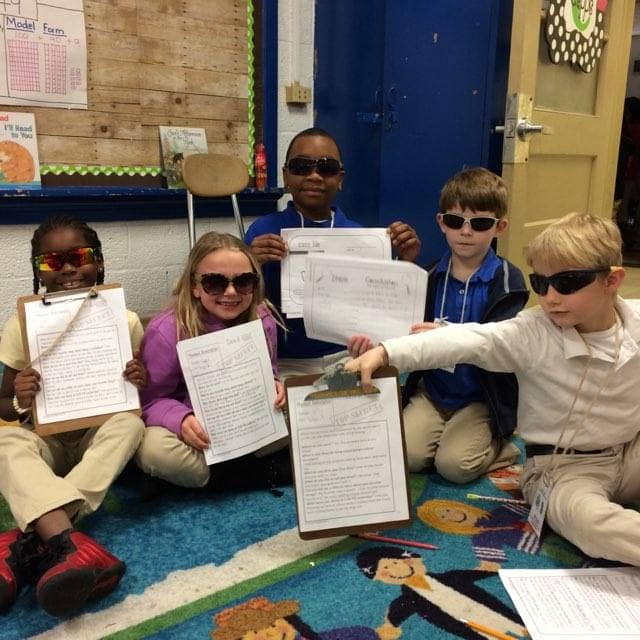Second Graders from Ms. Capps class are being detectives and...