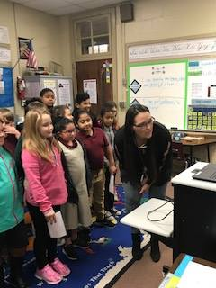 HAES would like to thank Abbotts Creek Elementary School for donating books to our students after hurricane Florence.  Our third graders were able to Skype with them to express our gratitude.