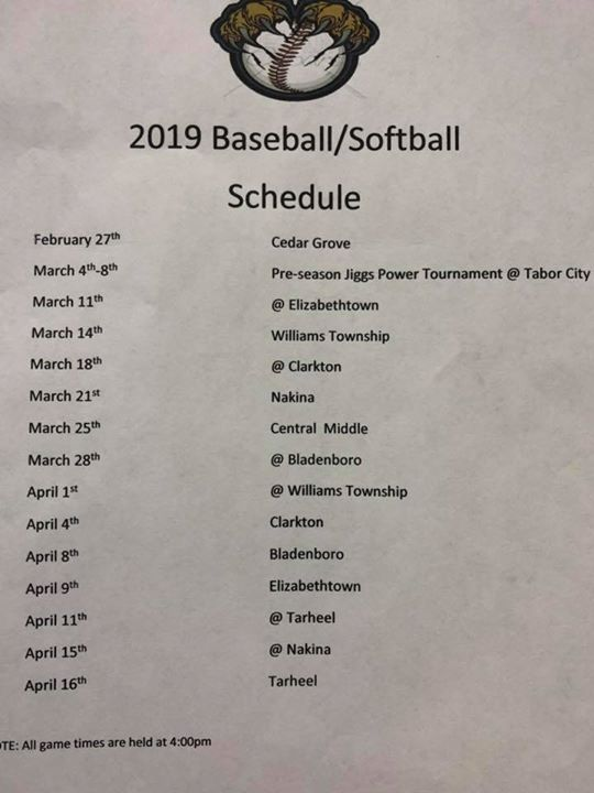 Schedule for the spring.  Come out and support your Tigers! ...
