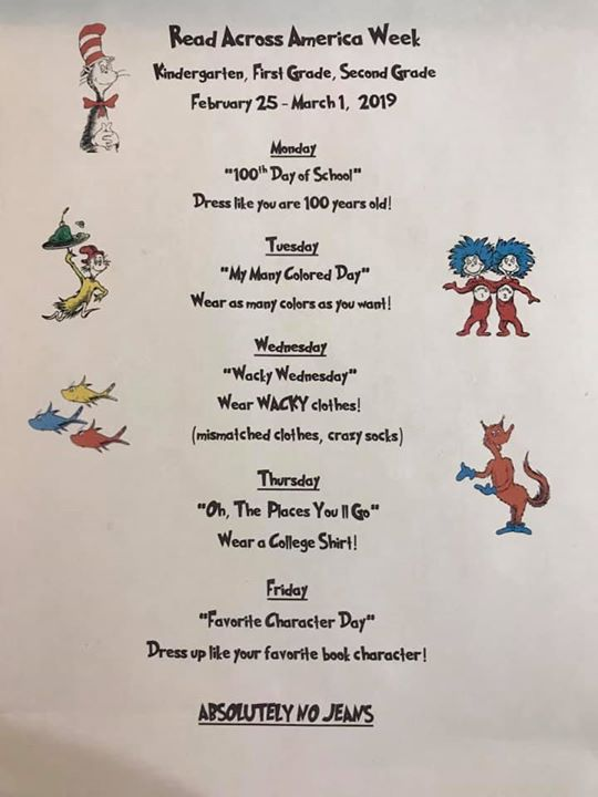 Read Across America Week activities will be next week for K-...