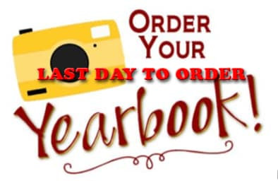 Don't forget Friday is the last day to order yearbooks! Ther...