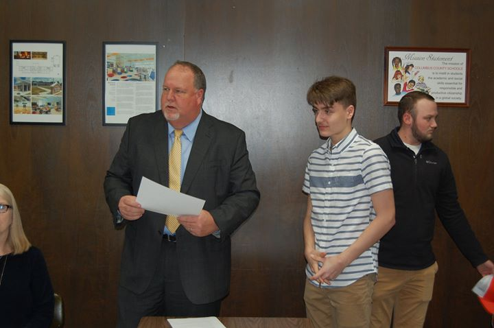 During the March board meeting, Cole Weatherford was recogni...