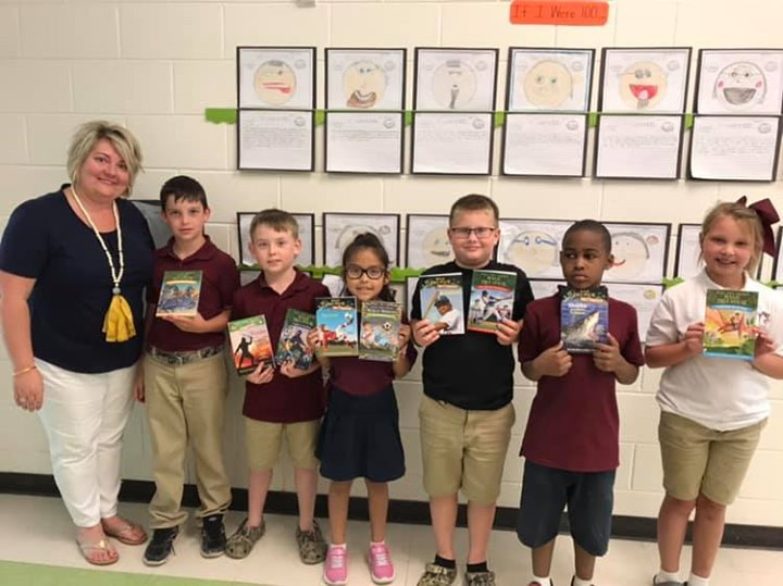 Great News!  Mrs. Cassie Hoffman received the Gift of Books ...
